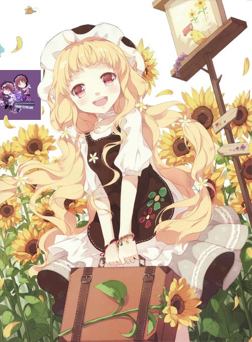 render sun flower girl by mizumikid d881grd